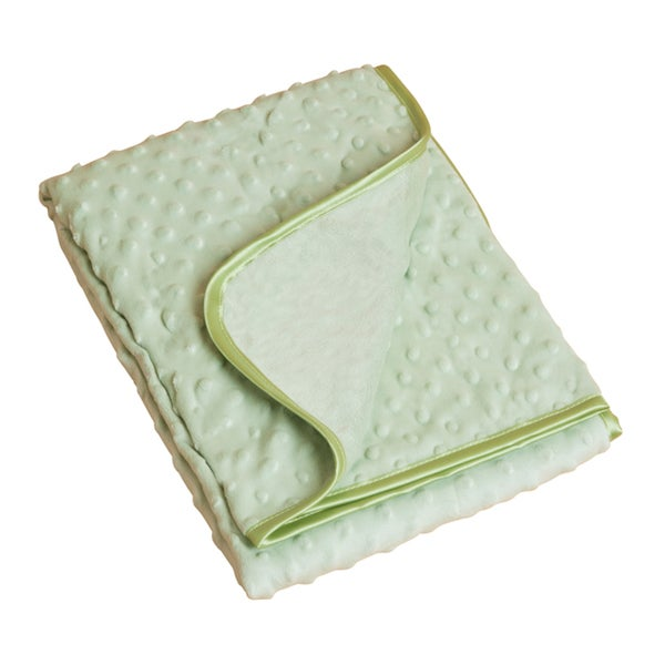 Saro Green Raised Dots Plush Baby Blanket