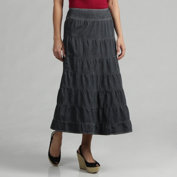 Live a Little Women's Salior Denim Tiered Skirt