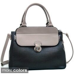 Dasein Two-Tone Soft-Matte Croco-Texture Tall Satchel