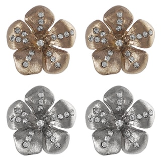 Journee Collection Steel CZ Vintage Flower Earrings