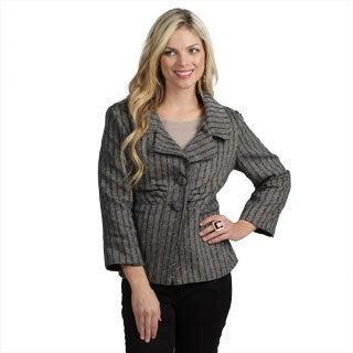 Live a Little Women's 3/4-sleeve Tweed Blazer