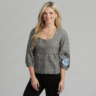 Live A Little Women's Rose Embroidered Plaid Jacket