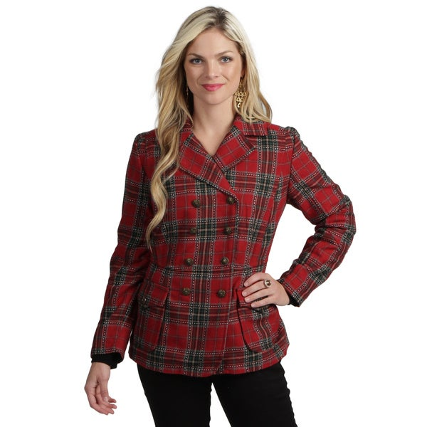 Live A Little Women's Red Plaid Peacoat