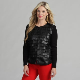 Live A Little Women's Black Flirty Collarless Jacket