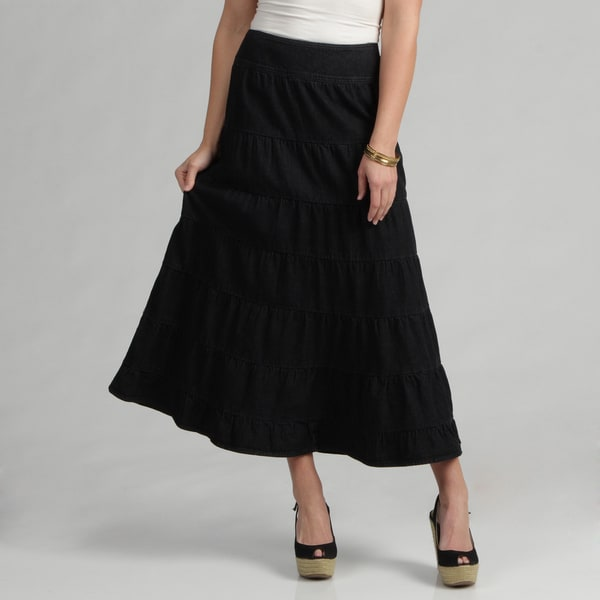 Live A Little Women's Black Tiered Maxi Skirt