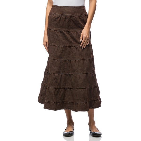 Live A Little Women's Brown Tiered Maxi Skirt