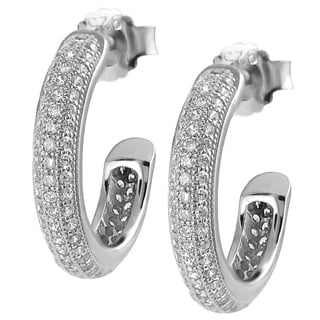 Tressa Sterling Silver CZ Hoop Earrings
