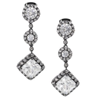 Journee Collection Rhodium-plated Silver CZ Mini Chandelier Earrings