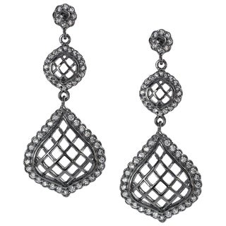 Journee Collection  Sterling Silver Cubic Zirconia Lattice Chandelier Earrings