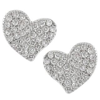 Tressa Sterling Silver Cubic Zirconia Heart Stud Earrings