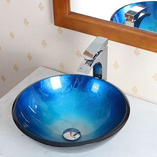 Elite 1203771587C Tempered Glass Hand-painted Vessel Sink and Chrome Faucet Set