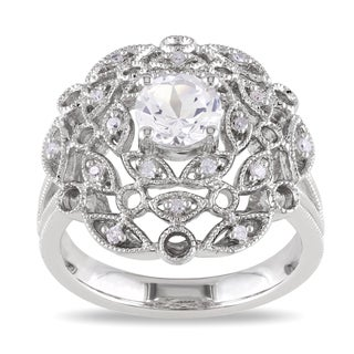 Miadora Sterling Silver White Sapphire and Diamond Ring (G-H, I1-I2)