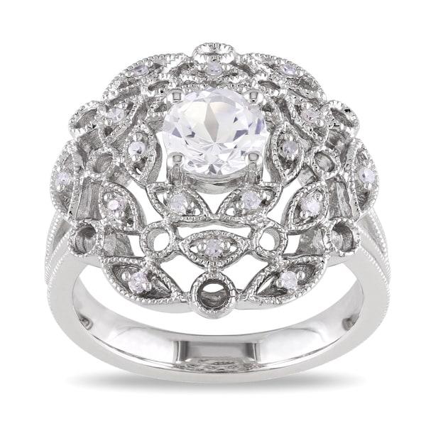 Miadora Sterling Silver White Sapphire and Diamond Ring (G-H, I1-I2)