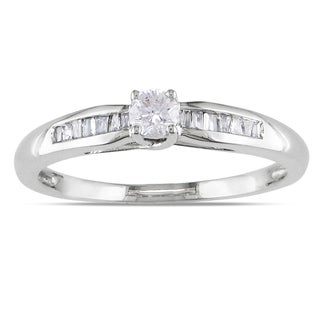 Miadora Sterling Silver 1/4ct TDW Round-cut Diamond Promise Ring (H-I, I2-I3) with Bonus Earrings