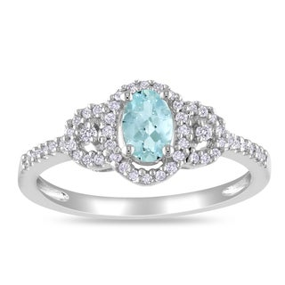 Miadora Sterling Silver Aquamarine and 1/6ct TDW Diamond Ring (H-I, I2-I3)