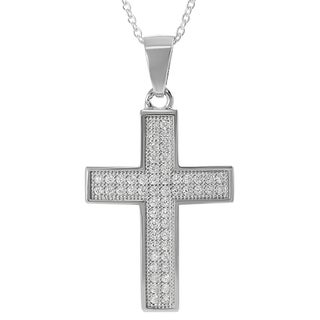 Tressa Sterling Silver Cubic Zirconia Cross Necklace