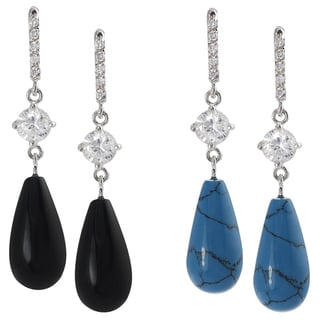 Tressa Sterling Silver Cubic Zirconia Acrylic Bead Earrings