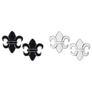 Journee Collection Sterling Silver Enamel Fleur de Lis Earrings