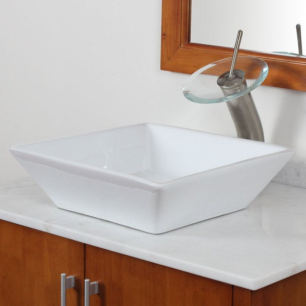 Elite Bathroom Sinks : Fine Fixtures Ceramic White Single-Hole Vessel Sink
