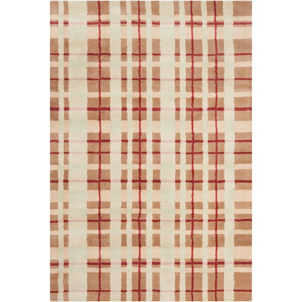 Filament Brown Geometric Wool Rug (5' x 7'6)