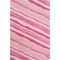 Filament Pink Abstract Wool Rug (5' x 7'6)