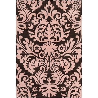 Filament Brown/ Pink Floral Wool Rug (5' x 7'6)