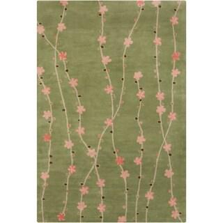 Filament Green Floral Wool Rug (5' x 7'6)