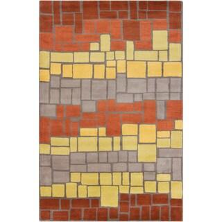 Filament Geometric Blocks Wool Rug (5' x 7'6)