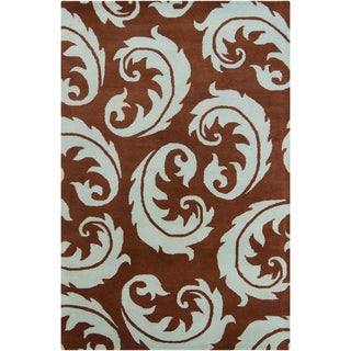 Filament Brown Abstract Wool Rug (5' x 7'6)