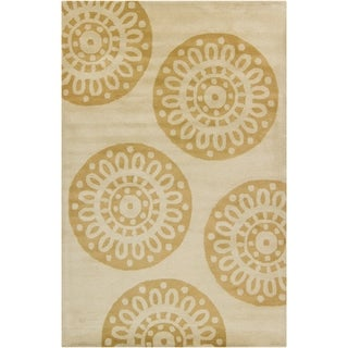 Filament Tan Abstract Wool Rug (5' x 7'6)
