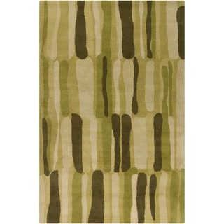 Filament Green Abstract Wool Rug (5' x 7'6)