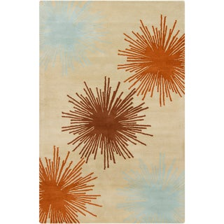 Filament Taupe Abstract Wool Rug (5' x 7'6)