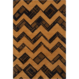 Filament Geometric Brown Contemporary Wool Rug (5' x 7'6)
