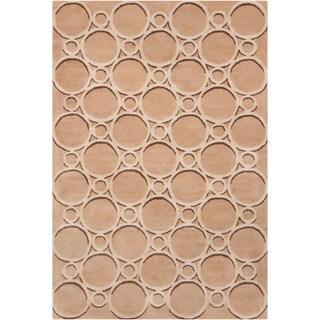 Filament Tan Geometric Wool Rug (5' x 7'6)