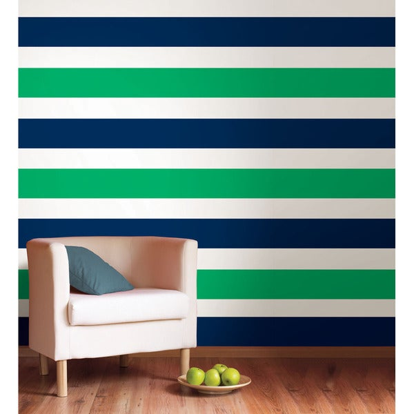 WallPops Lucky Clover Green and Shh! Blue Stripe Bundle Vinyl Wall Art