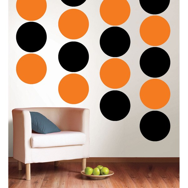 WallPops Totally Orange and Black Jack Dots Bundle Vinyl Wall Art