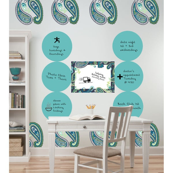 Wall Pops Blue/ Green Paisley 14-piece Dot Set