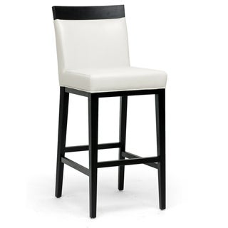 Clymene Black Wood and Cream Leather Modern Bar Stool