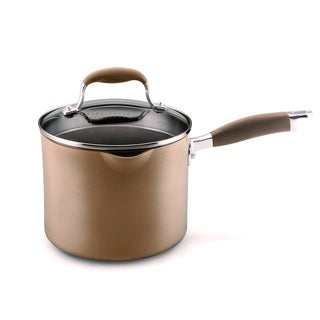 Anolon Bronze Hard-Anodized Nonstick 3.5-quart Covered Straining Saucepan with Pouring Spouts