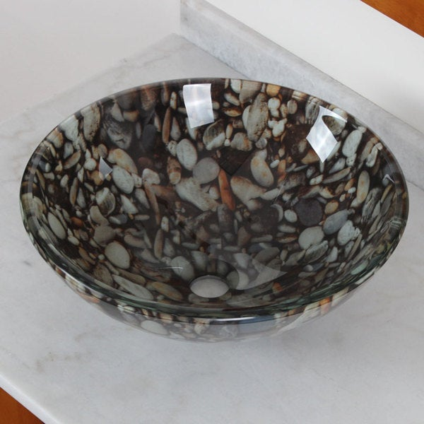 Elite 44B-1 Tempered Glass Natural Sea Rock Vessel Sink