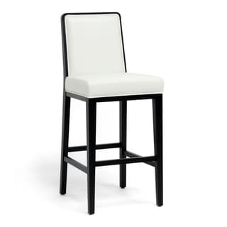 Theia Black Wood and Cream Leather Modern Bar Stool
