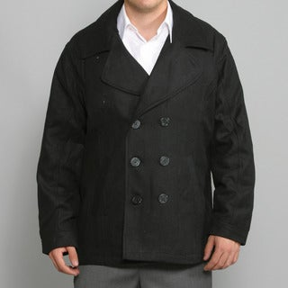 Sportier Men's Black Military Style Wool Coat