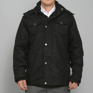 Sportier Men's Black Hooded Wool Coat