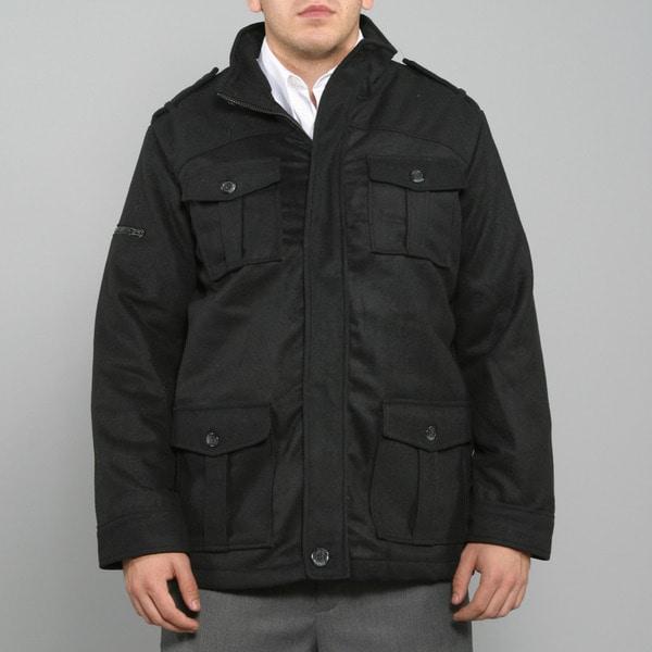 Sportier Men's Black Full Zip Wool Coat