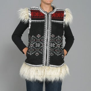 Black Mountain Women's Faux Fur Fair Isle Patch Vest