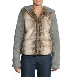 Black Mountain Women's Grey Faux Fur Raglan Hoodie
