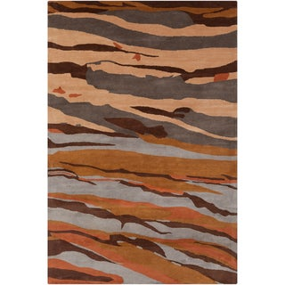 Allie Handmade Brown/Gray Abstract Wool Rug (5' x 7'6)