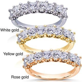 Annello 14k Gold 1 1/2ct TDW Princess Diamond Wedding Band (H-I, I1-I2)