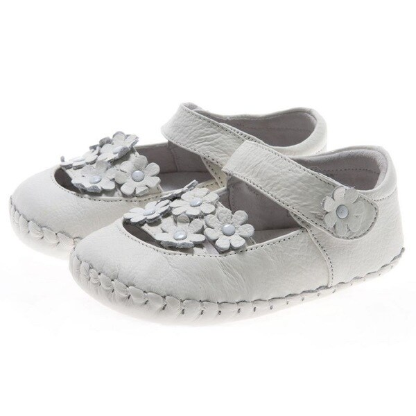Little Blue Lamb Hand Stitched White Leather Walking Shoes