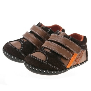 Little Blue Lamb Hand Stitched Leather Brown Infant Walking Shoes